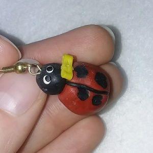 Jewelry - Ladybug earings with yellow bow!